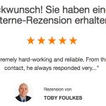 5 Sterne Bewertung dein maler.ch: Jörg ist sehr fleißig und zuverlässig.
